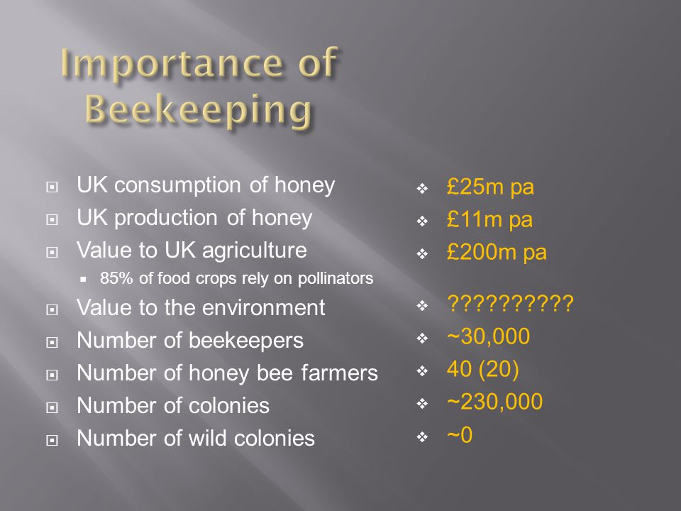  UK consumption of honey  UK production of honey  Value to UK agriculture  85% of food crops rely on pollinators  Value to the environment  Number of beekeepers  Number of honey bee farmers  Number of colonies  Number of wild colonies  £25m pa  £11m pa  £200m pa  .