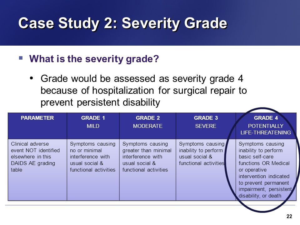 Case Study 2: Severity Grade  What is the severity grade? Grade would be assessed as severity grade 4 because of hospitalization for surgical repair