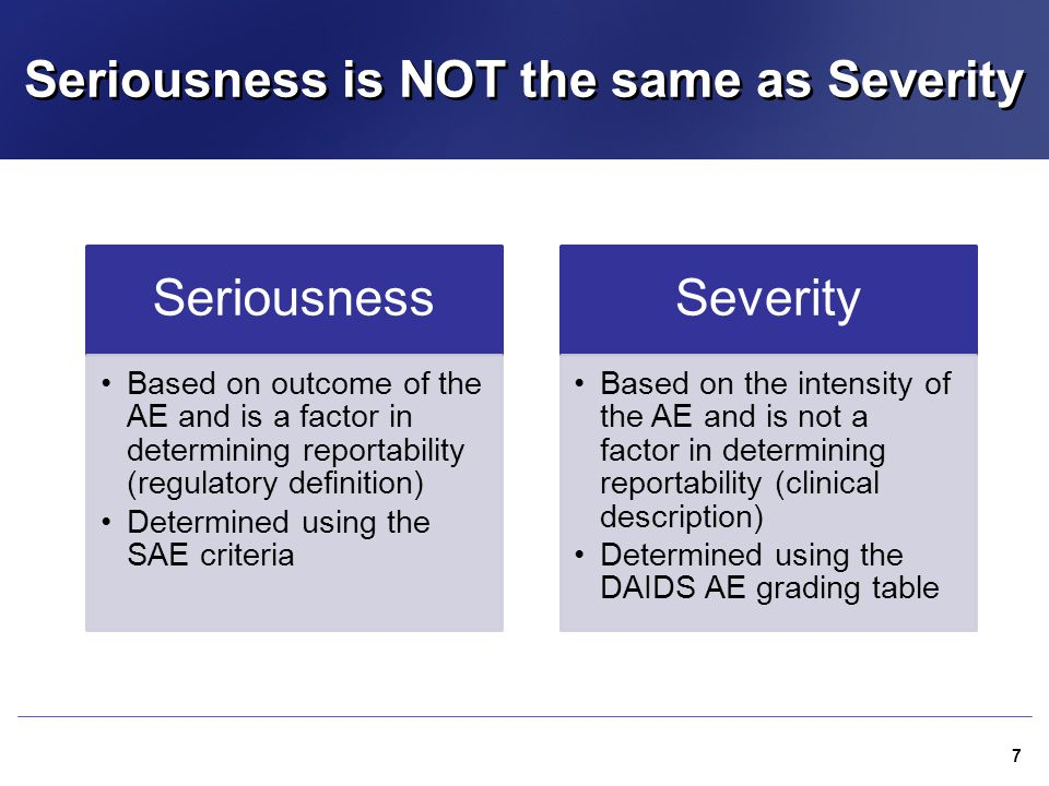 Seriousness is NOT the same as Severity Seriousness Based on outcome of the AE and is a factor in determining reportability (regulatory definition) De