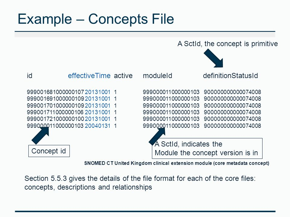Example – Concepts File id effectiveTimeactivemoduleId definitionStatusId 999001681000000107201310011999000011000000103 900000000000074008 999001691000000109201310011999000011000000103 900000000000074008 999001701000000109201310011999000011000000103 900000000000074008 999001711000000106201310011999000011000000103 900000000000074008 999001721000000100201310011999000011000000103 900000000000074008 999000011000000103200401311999000011000000103 900000000000074008 Section 5.5.3 gives the details of the file format for each of the core files: concepts, descriptions and relationships Concept id A SctId, indicates the Module the concept version is in A SctId, the concept is primitive SNOMED CT United Kingdom clinical extension module (core metadata concept)