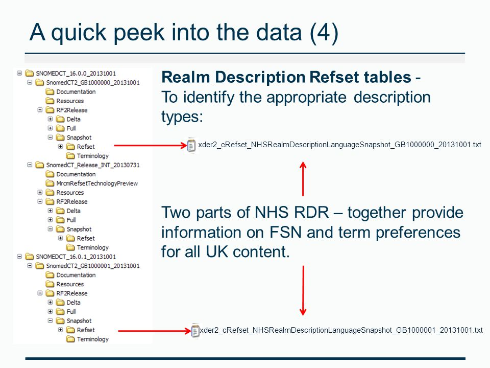 A quick peek into the data (4) Realm Description Refset tables - To identify the appropriate description types: Two parts of NHS RDR – together provide information on FSN and term preferences for all UK content.