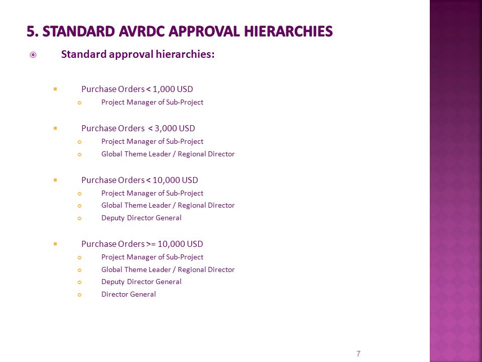  Standard approval hierarchies:  Purchase Orders < 1,000 USD Project Manager of Sub-Project  Purchase Orders < 3,000 USD Project Manager of Sub-Pro