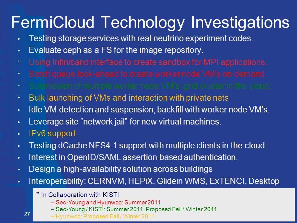 Gabriele Garzoglio, Fermilab, the GCC Dept. and the KISTI Collaboration, Nov 4, 2011 FermiCloud Technology Investigations Testing storage services wit