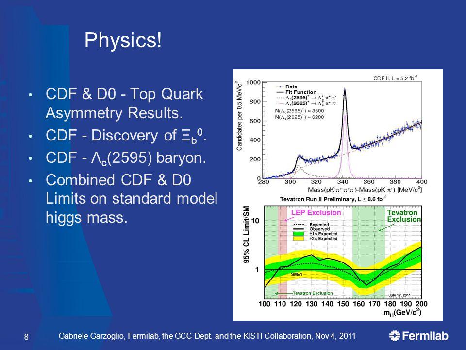 Gabriele Garzoglio, Fermilab, the GCC Dept. and the KISTI Collaboration, Nov 4, 2011 Physics! CDF & D0 - Top Quark Asymmetry Results. CDF - Discovery