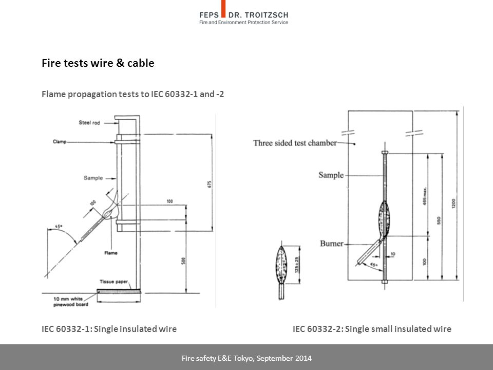 Fire tests wire & cable Flame propagation tests to IEC 60332-1 and -2 IEC 60332-1: Single insulated wire IEC 60332-2: Single small insulated wire Fire safety E&E Tokyo, September 2014