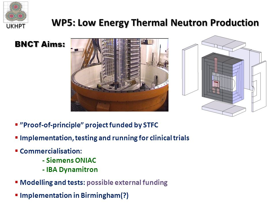 UKHPT WP5: Low Energy Thermal Neutron Production  Proof-of-principle project funded by STFC  Implementation, testing and running for clinical trials  Commercialisation: - Siemens ONIAC - IBA Dynamitron  Modelling and tests: possible external funding  Implementation in Birmingham(?) BNCT Aims: