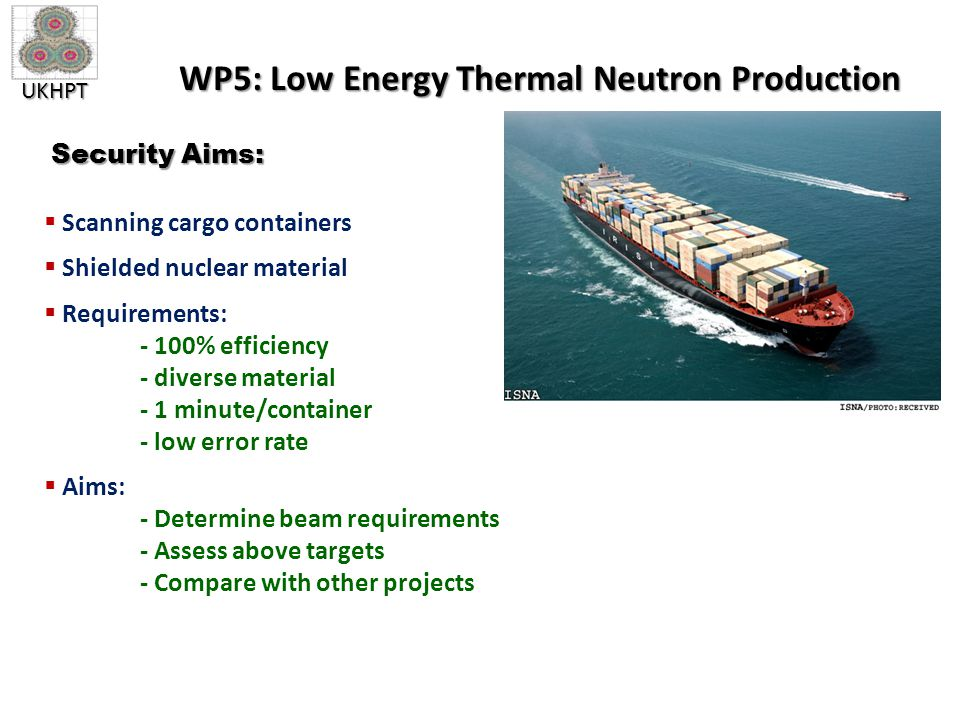 UKHPT WP5: Low Energy Thermal Neutron Production  Scanning cargo containers  Shielded nuclear material  Requirements: - 100% efficiency - diverse material - 1 minute/container - low error rate  Aims: - Determine beam requirements - Assess above targets - Compare with other projects Security Aims: