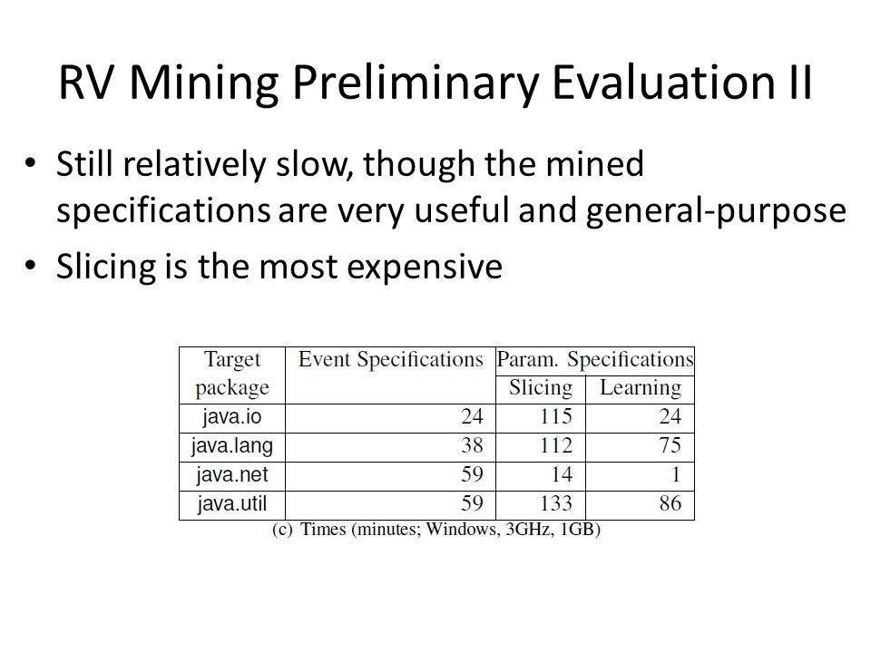 RV Mining Preliminary Evaluation II Still relatively slow, though the mined specifications are very useful and general-purpose Slicing is the most exp