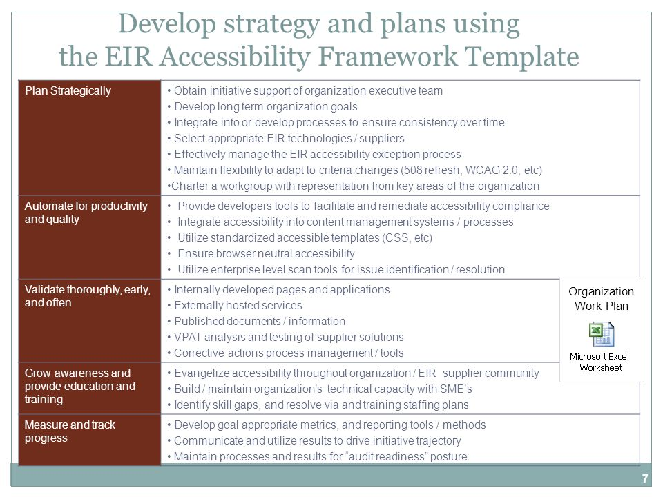 7 Develop strategy and plans using the EIR Accessibility Framework Template Plan Strategically Obtain initiative support of organization executive team Develop long term organization goals Integrate into or develop processes to ensure consistency over time Select appropriate EIR technologies / suppliers Effectively manage the EIR accessibility exception process Maintain flexibility to adapt to criteria changes (508 refresh, WCAG 2.0, etc) Charter a workgroup with representation from key areas of the organization Automate for productivity and quality Provide developers tools to facilitate and remediate accessibility compliance Integrate accessibility into content management systems / processes Utilize standardized accessible templates (CSS, etc) Ensure browser neutral accessibility Utilize enterprise level scan tools for issue identification / resolution Validate thoroughly, early, and often Internally developed pages and applications Externally hosted services Published documents / information VPAT analysis and testing of supplier solutions Corrective actions process management / tools Grow awareness and provide education and training Evangelize accessibility throughout organization / EIR supplier community Build / maintain organization's technical capacity with SME's Identify skill gaps, and resolve via and training staffing plans Measure and track progress Develop goal appropriate metrics, and reporting tools / methods Communicate and utilize results to drive initiative trajectory Maintain processes and results for audit readiness posture Organization Work Plan