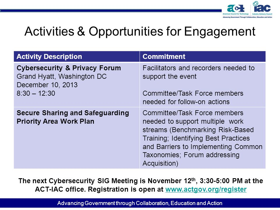 Advancing Government through Collaboration, Education and Action Activities & Opportunities for Engagement Activity DescriptionCommitment Cybersecurity & Privacy Forum Grand Hyatt, Washington DC December 10, 2013 8:30 – 12:30 Facilitators and recorders needed to support the event Committee/Task Force members needed for follow-on actions Secure Sharing and Safeguarding Priority Area Work Plan Committee/Task Force members needed to support multiple work streams (Benchmarking Risk-Based Training; Identifying Best Practices and Barriers to Implementing Common Taxonomies; Forum addressing Acquisition) The next Cybersecurity SIG Meeting is November 12 th, 3:30-5:00 PM at the ACT-IAC office.