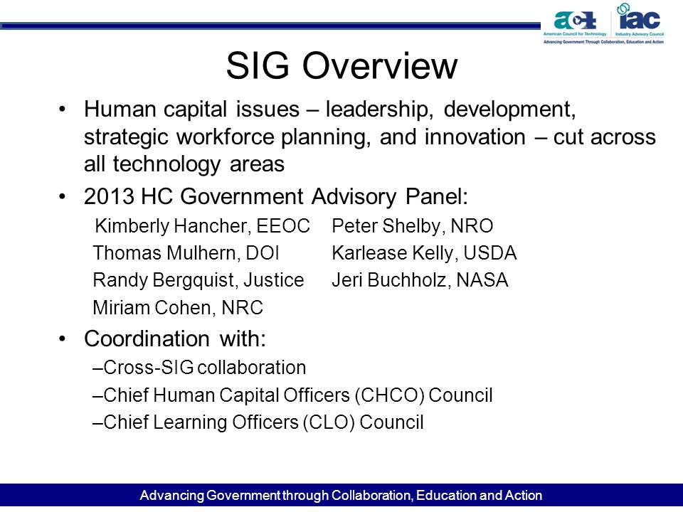 Advancing Government through Collaboration, Education and Action SIG Overview Human capital issues – leadership, development, strategic workforce plan
