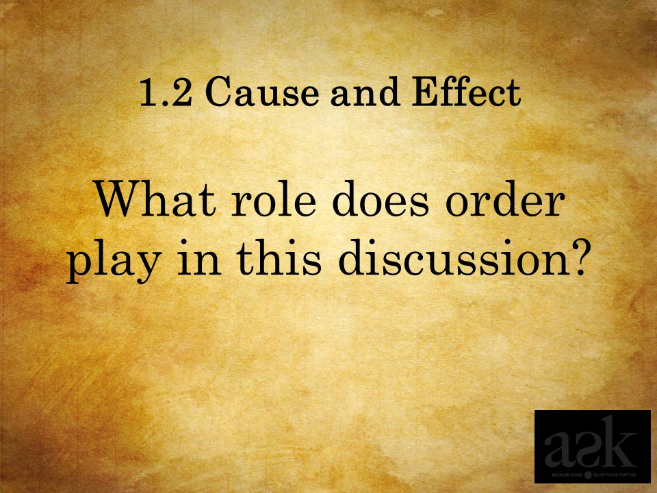 1.2 Cause and Effect What role does order play in this discussion?