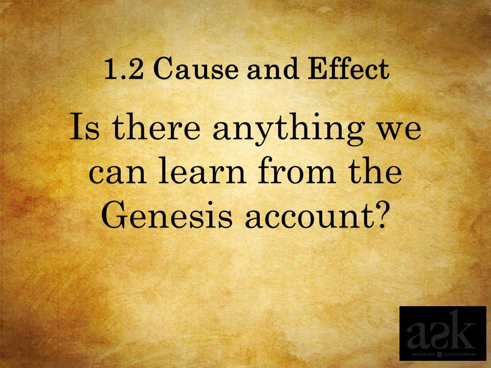 1.2 Cause and Effect Is there anything we can learn from the Genesis account?