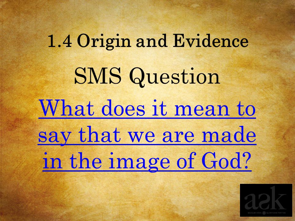 1.4 Origin and Evidence SMS Question What does it mean to say that we are made in the image of God?