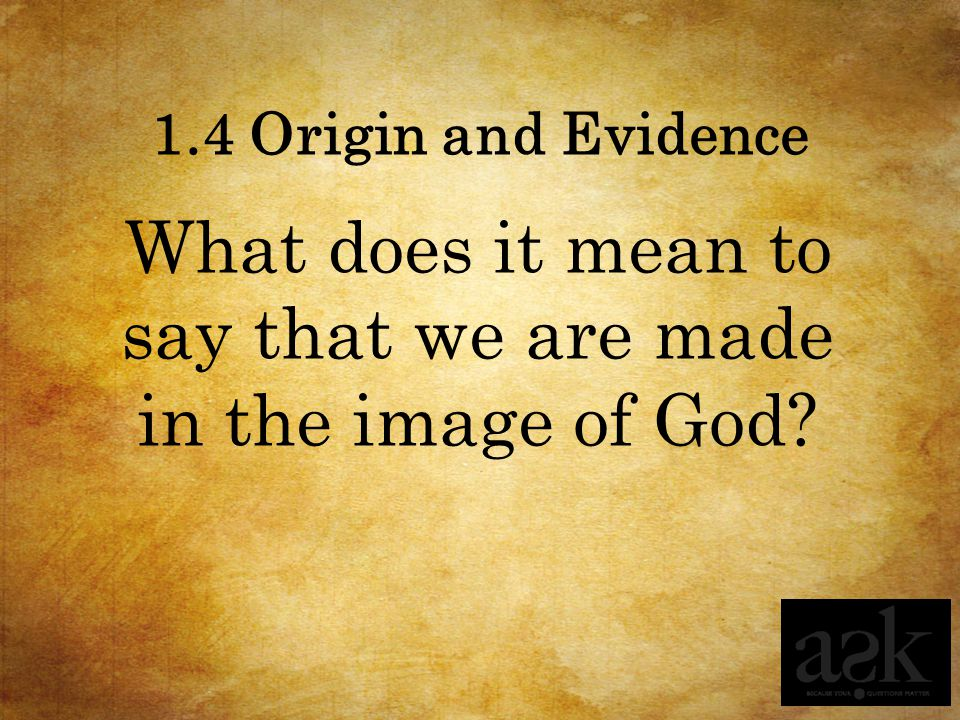 1.4 Origin and Evidence What does it mean to say that we are made in the image of God?