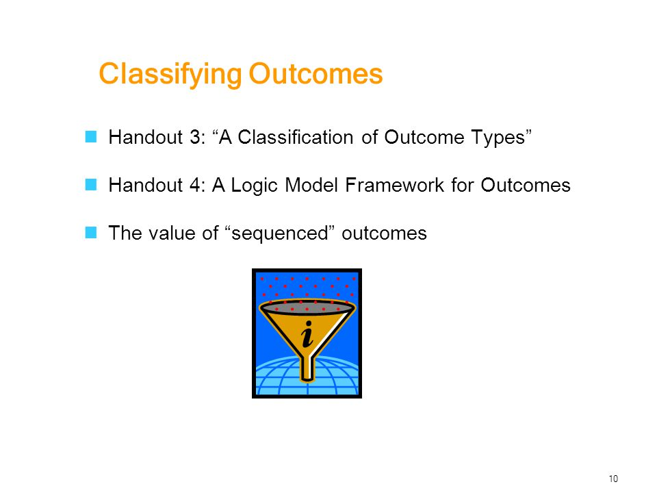 Classifying Outcomes Handout 3: A Classification of Outcome Types Handout 4: A Logic Model Framework for Outcomes The value of sequenced outcomes 10