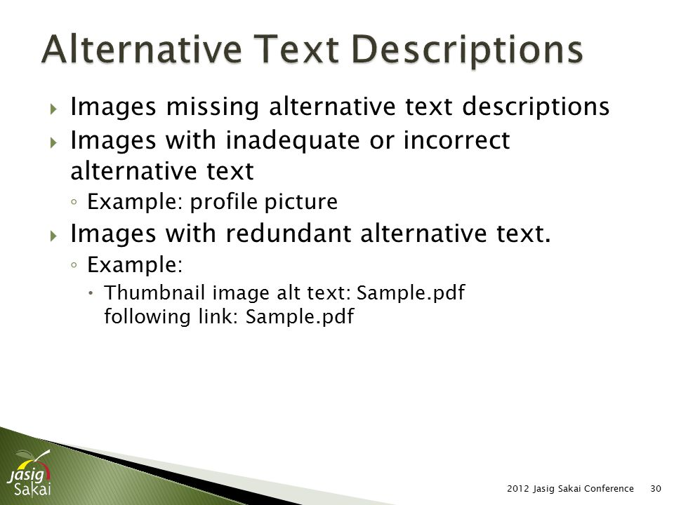  Images missing alternative text descriptions  Images with inadequate or incorrect alternative text ◦ Example: profile picture  Images with redundant alternative text.