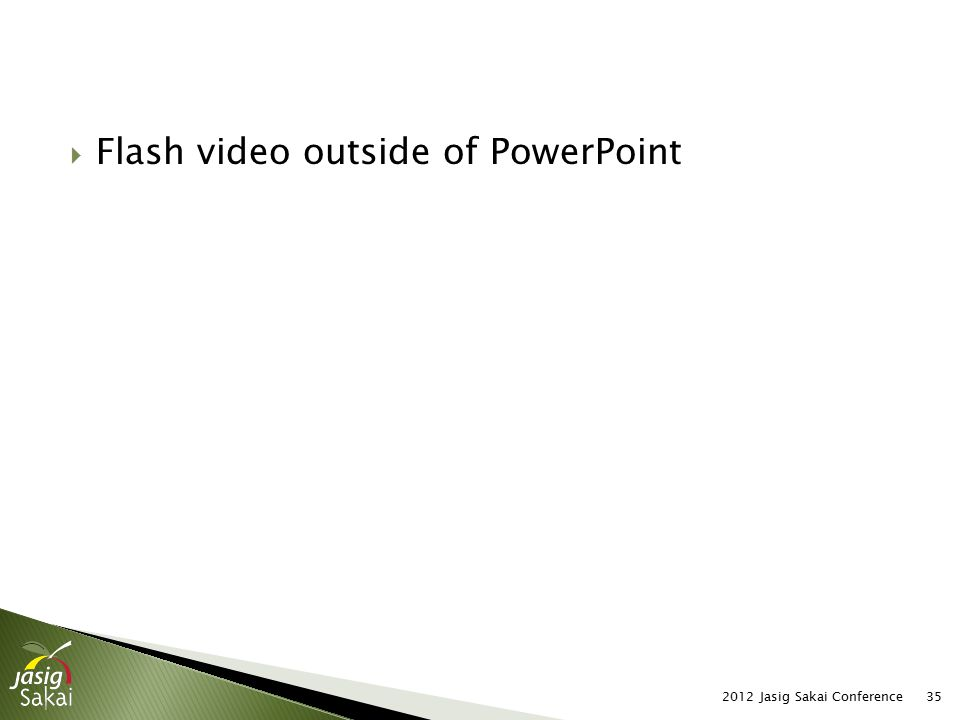 2012 Jasig Sakai Conference35  Flash video outside of PowerPoint
