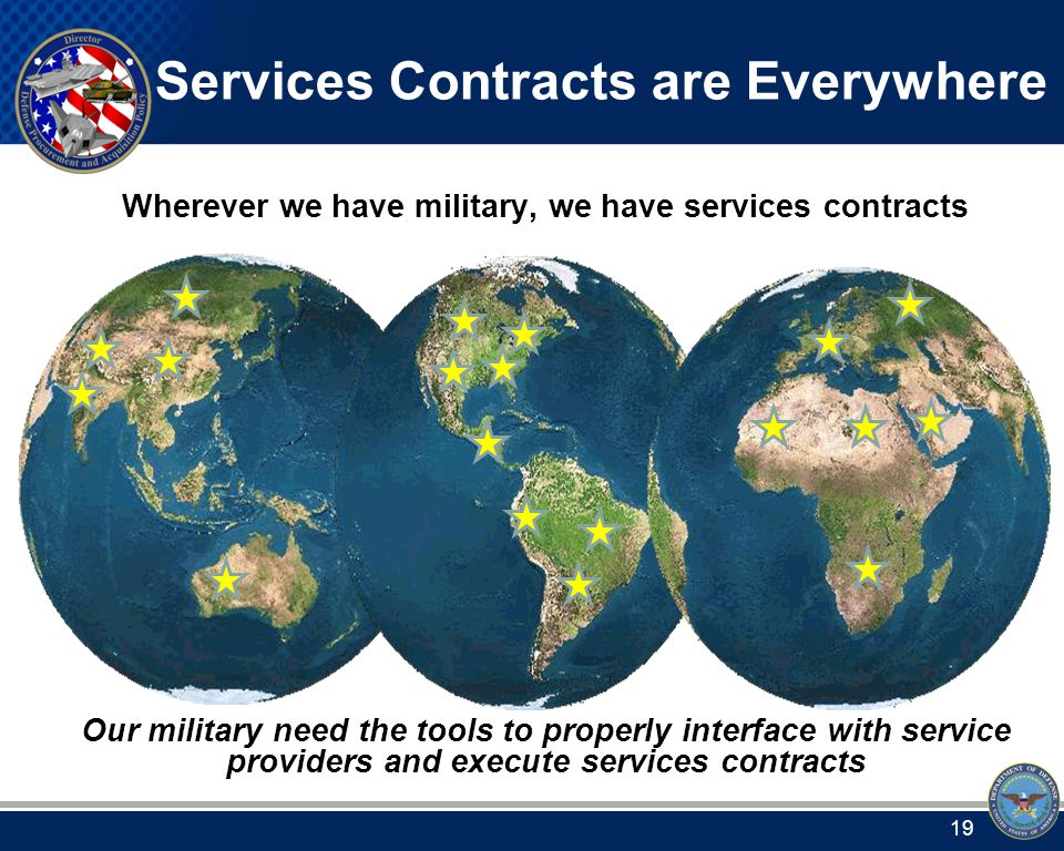 Services Contracts are Everywhere Wherever we have military, we have services contracts Our military need the tools to properly interface with service providers and execute services contracts 19