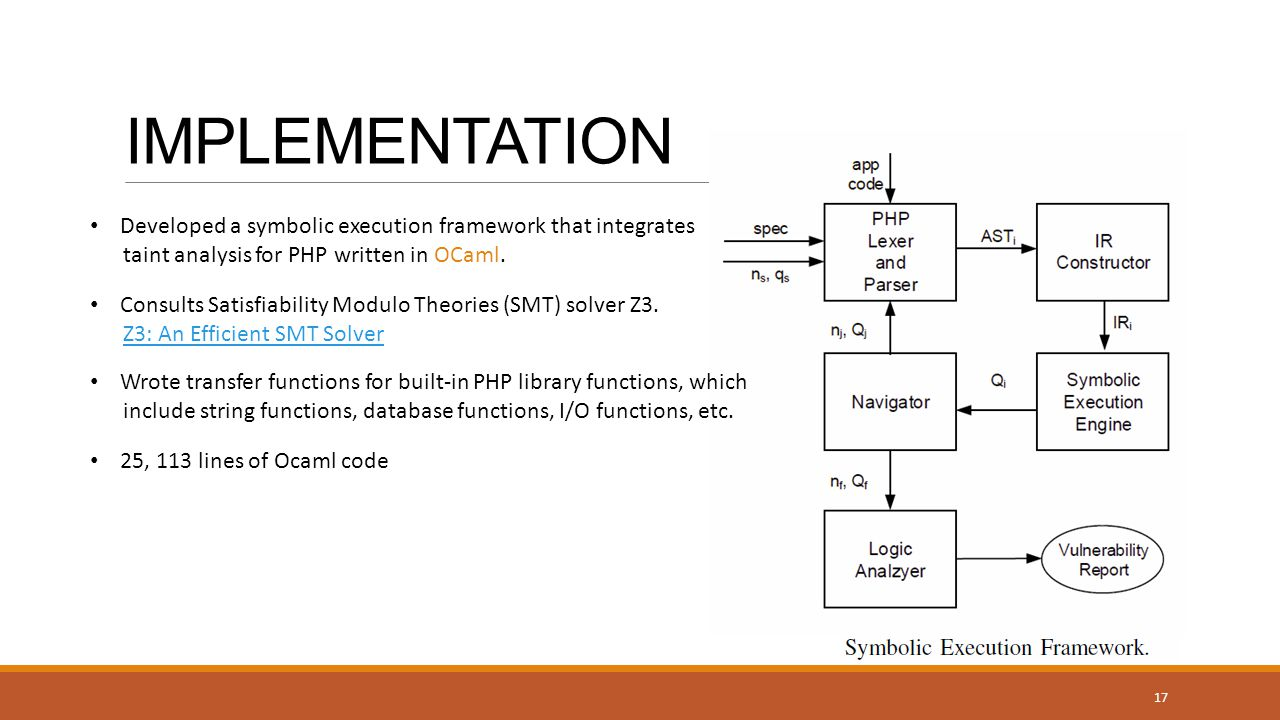 IMPLEMENTATION Developed a symbolic execution framework that integrates taint analysis for PHP written in OCaml.