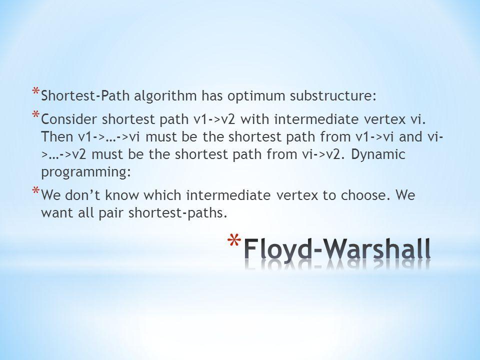 * Shortest-Path algorithm has optimum substructure: * Consider shortest path v1->v2 with intermediate vertex vi.
