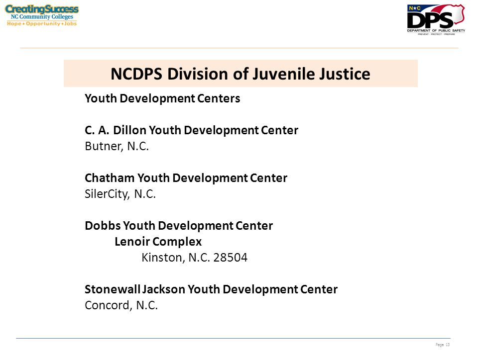 Page 13 NCDPS Division of Juvenile Justice Youth Development Centers C. A. Dillon Youth Development Center Butner, N.C. Chatham Youth Development Cent
