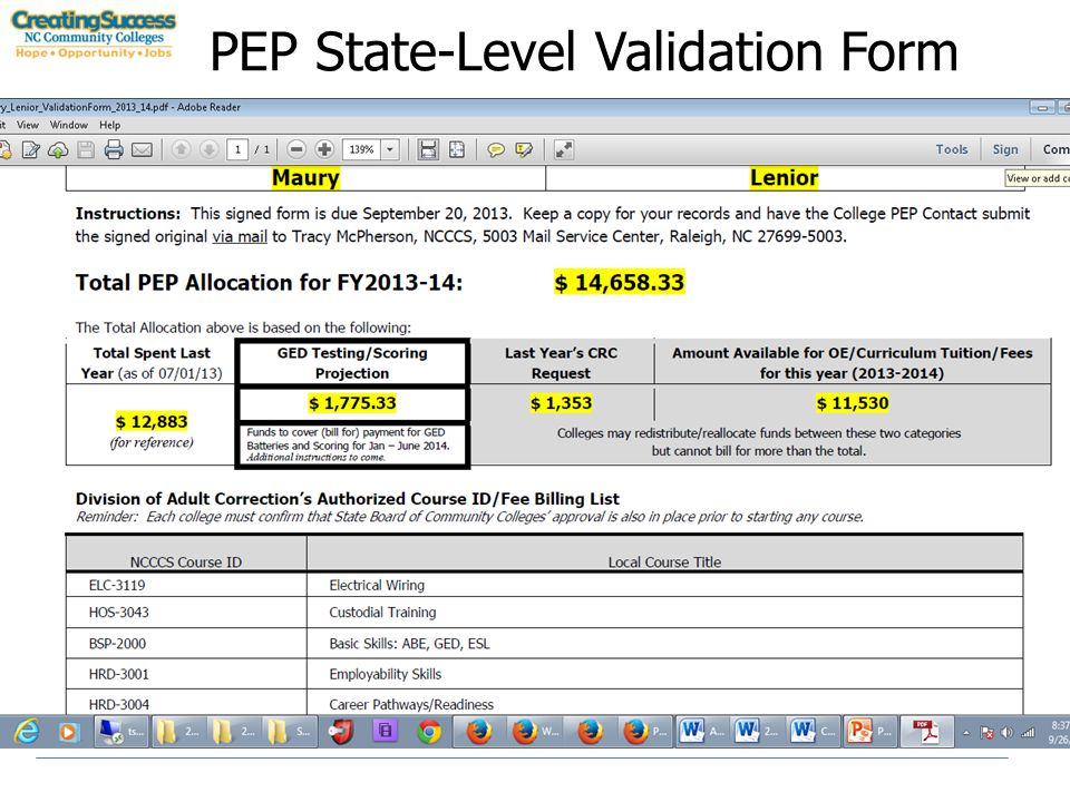 PEP State-Level Validation Form