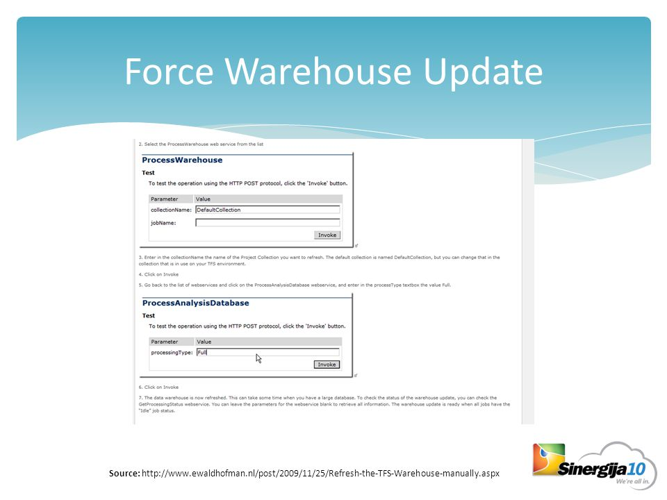 Force Warehouse Update Source: http://www.ewaldhofman.nl/post/2009/11/25/Refresh-the-TFS-Warehouse-manually.aspx