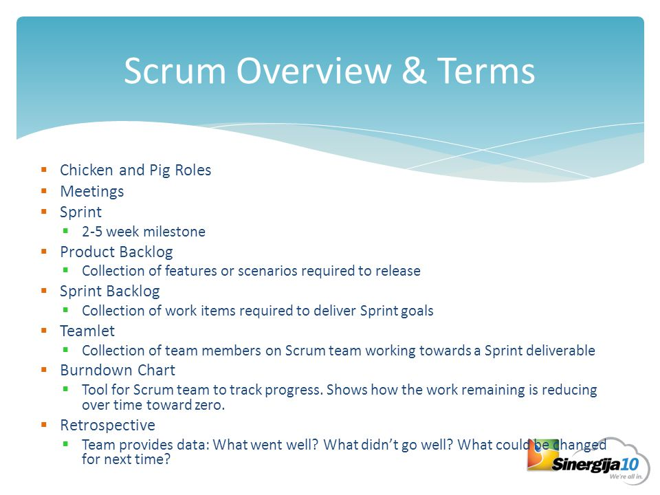 The Scrum Framework Product owner Scrum Master Team Roles Release planning Sprint planning Daily scrum meeting Sprint review Sprint retrospective Ceremonies Product backlog Sprint backlog Burndown charts Artifacts TFS facilitates these Which contributes to these And helps them