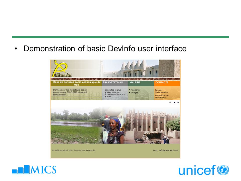 Demonstration of basic DevInfo user interface