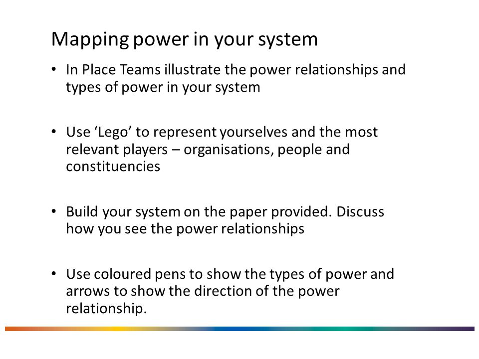 Mapping power in your system In Place Teams illustrate the power relationships and types of power in your system Use 'Lego' to represent yourselves and the most relevant players – organisations, people and constituencies Build your system on the paper provided.
