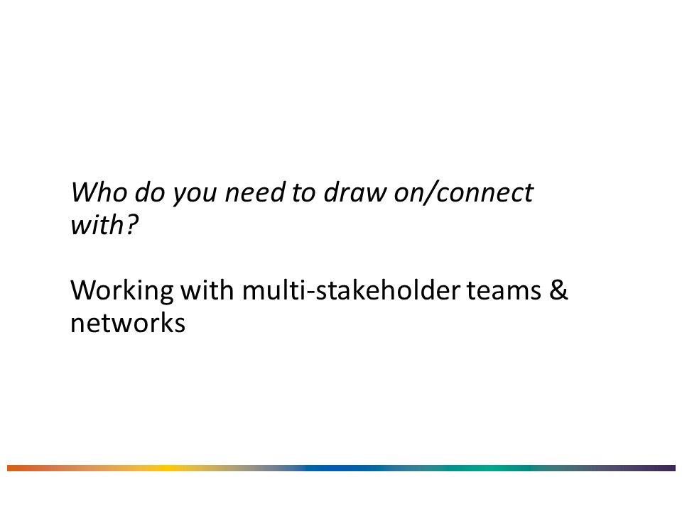 Who do you need to draw on/connect with Working with multi-stakeholder teams & networks