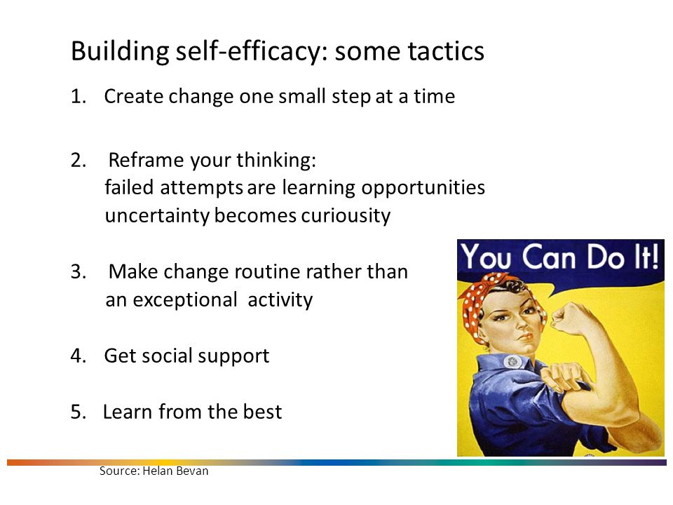 Building self-efficacy: some tactics 1.Create change one small step at a time 2.Reframe your thinking: failed attempts are learning opportunities uncertainty becomes curiousity 3.Make change routine rather than an exceptional activity 4.Get social support 5.