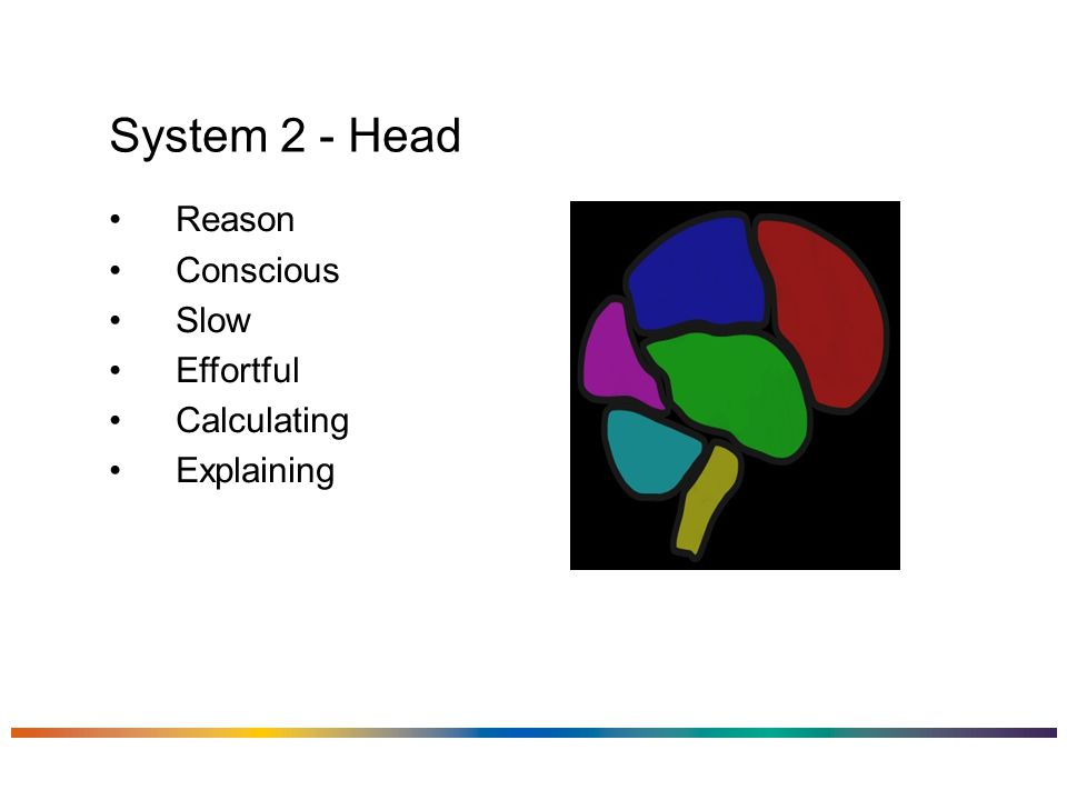 System 2 - Head Reason Conscious Slow Effortful Calculating Explaining