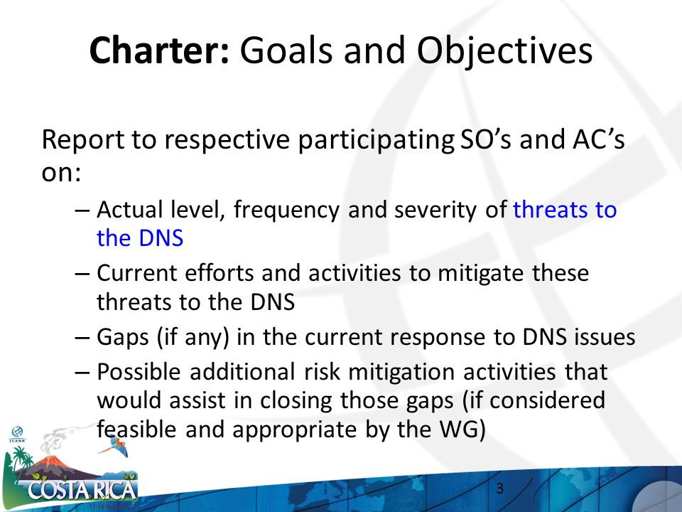 Charter: Goals and Objectives Report to respective participating SO's and AC's on: – Actual level, frequency and severity of threats to the DNS – Current efforts and activities to mitigate these threats to the DNS – Gaps (if any) in the current response to DNS issues – Possible additional risk mitigation activities that would assist in closing those gaps (if considered feasible and appropriate by the WG) 3