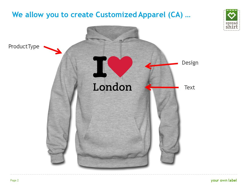 We allow you to create Customized Apparel (CA) … Page 2 your own label ProductType Design Text