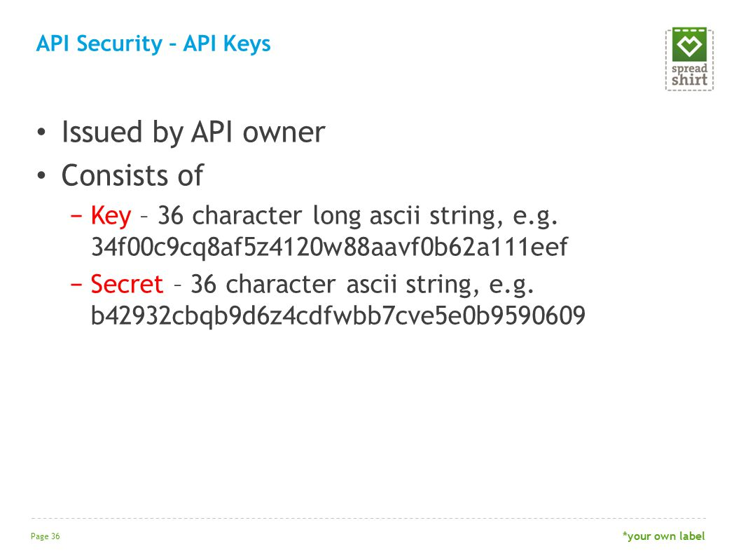 Issued by API owner Consists of −Key – 36 character long ascii string, e.g.