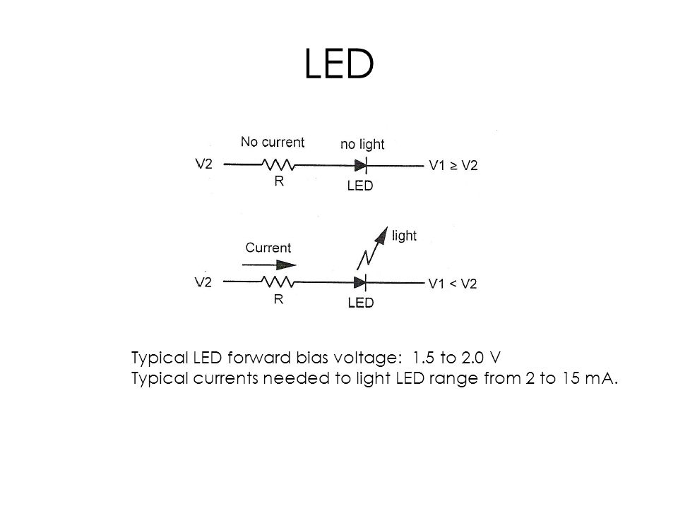 LED Typical LED forward bias voltage: 1.5 to 2.0 V Typical currents needed to light LED range from 2 to 15 mA.