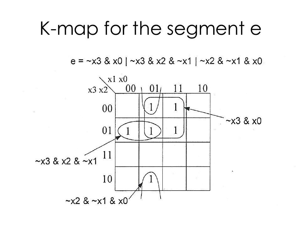 K-map for the segment e