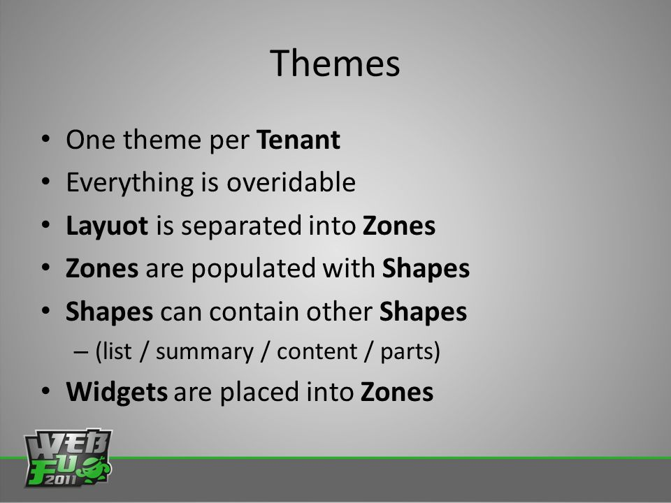 Themes One theme per Tenant Everything is overidable Layuot is separated into Zones Zones are populated with Shapes Shapes can contain other Shapes – (list / summary / content / parts) Widgets are placed into Zones
