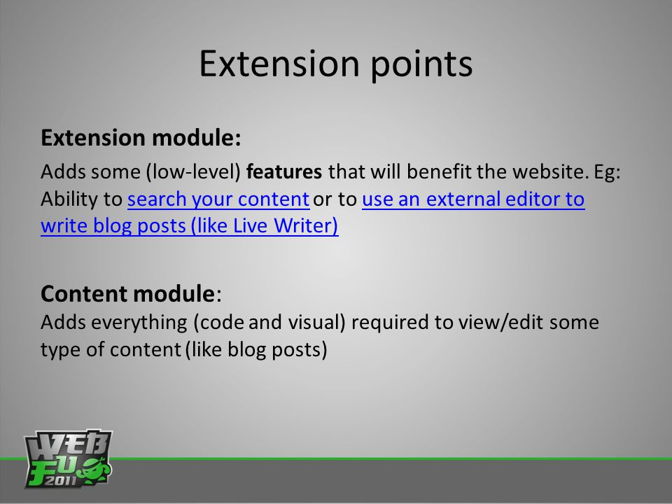 Extension module: Adds some (low-level) features that will benefit the website.