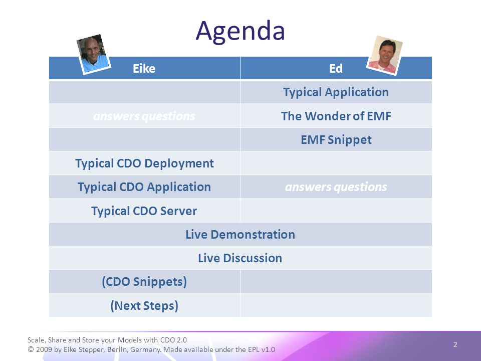 Agenda Scale, Share and Store your Models with CDO 2.0 © 2009 by Eike Stepper, Berlin, Germany. Made available under the EPL v1.0 2 EikeEd Typical App