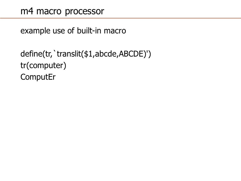 m4 macro processor example of the need to quote macro name for redefinition define(fn,3) fn 3 define(fn,4) fn 3 define(`fn ,4) fn 4