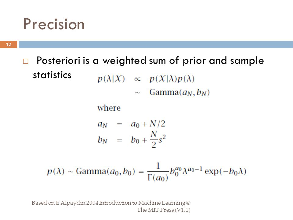 Precision Based on E Alpaydın 2004 Introduction to Machine Learning © The MIT Press (V1.1) 12  Posteriori is a weighted sum of prior and sample statistics