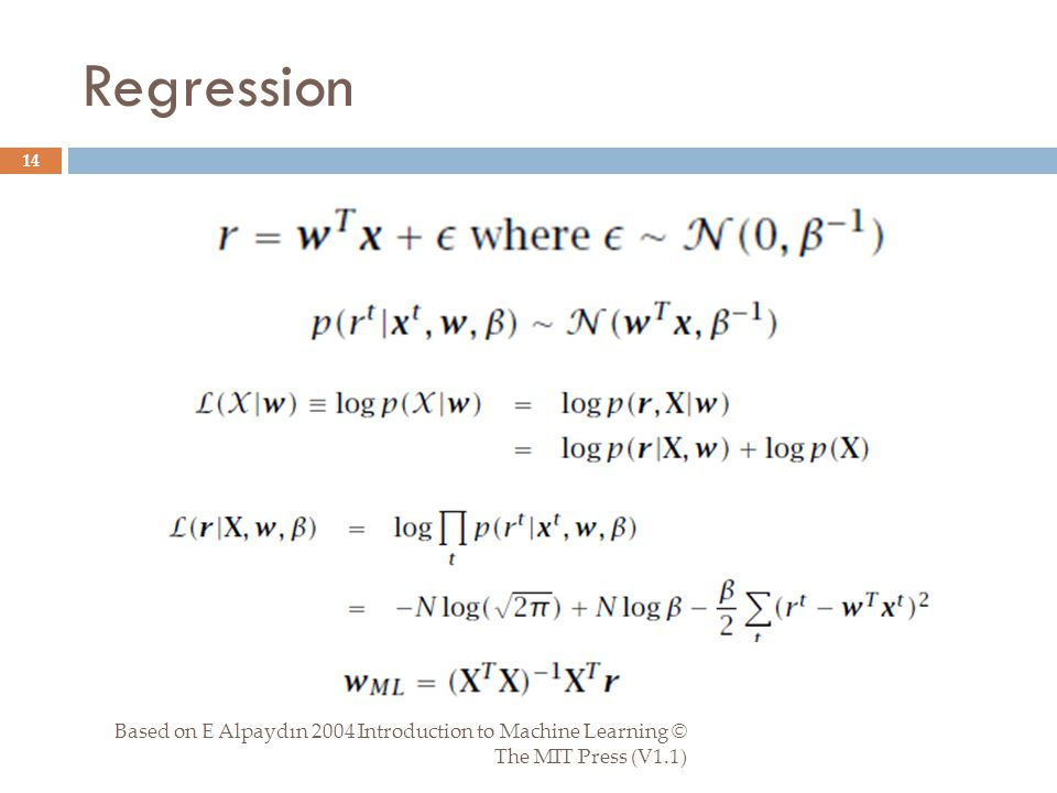 Regression Based on E Alpaydın 2004 Introduction to Machine Learning © The MIT Press (V1.1) 14