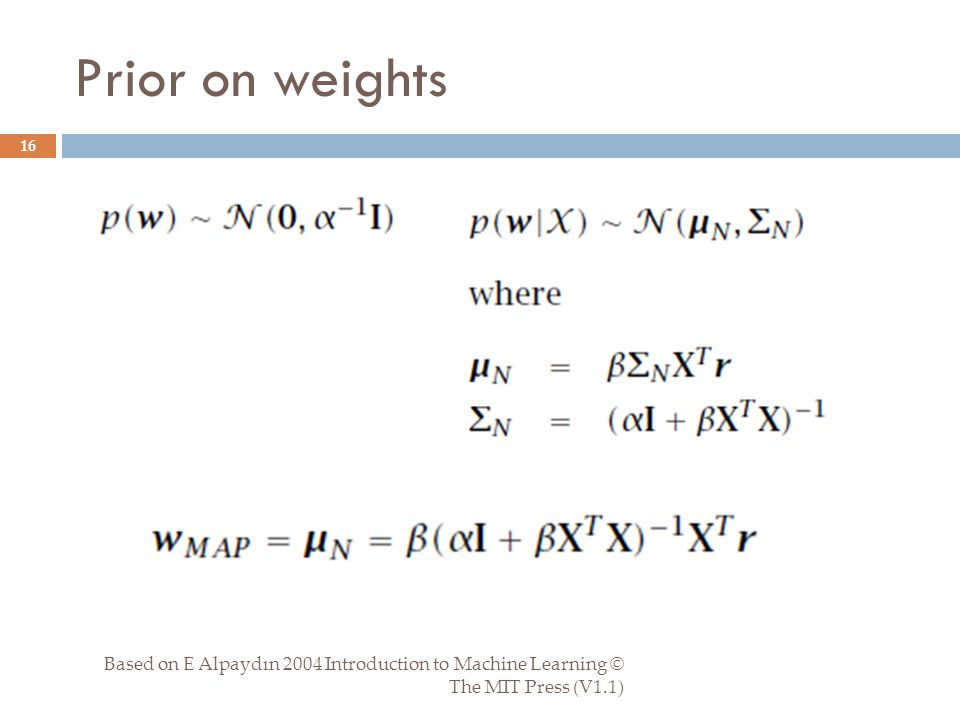 Prior on weights Based on E Alpaydın 2004 Introduction to Machine Learning © The MIT Press (V1.1) 16