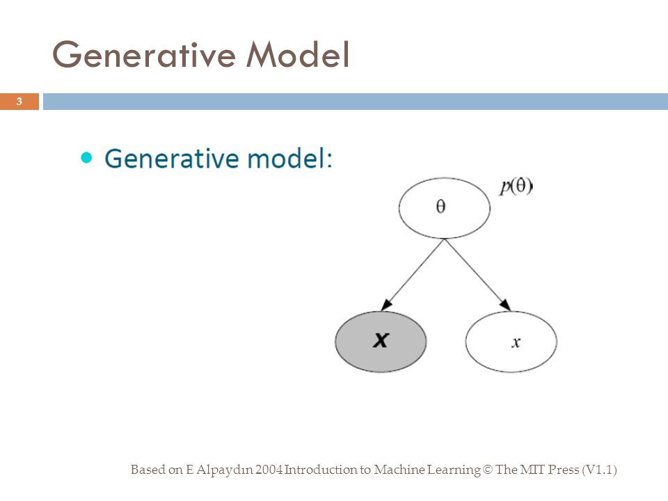 Generative Model Based on E Alpaydın 2004 Introduction to Machine Learning © The MIT Press (V1.1) 3