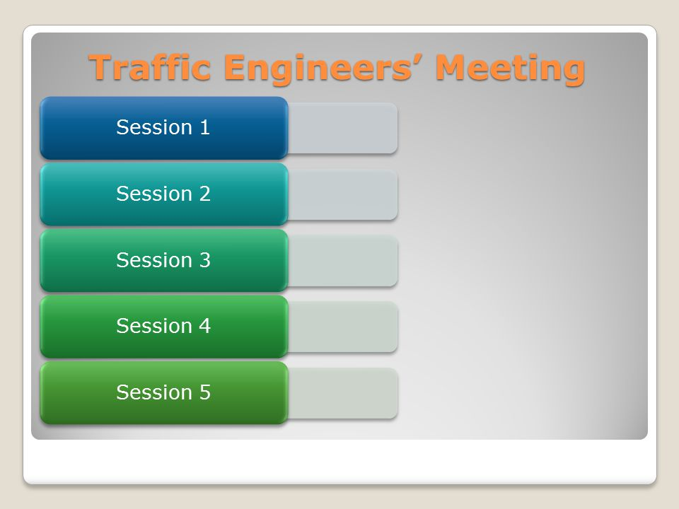 Traffic Engineers' Meeting Safety Session 1 MUTCD Session 2 Access Management Session 3 Intersections Session 4 Policies Session 5