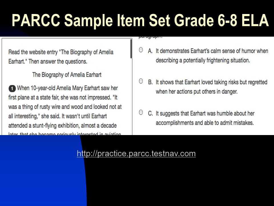 PARCC Sample Item Set Grade 6-8 ELA