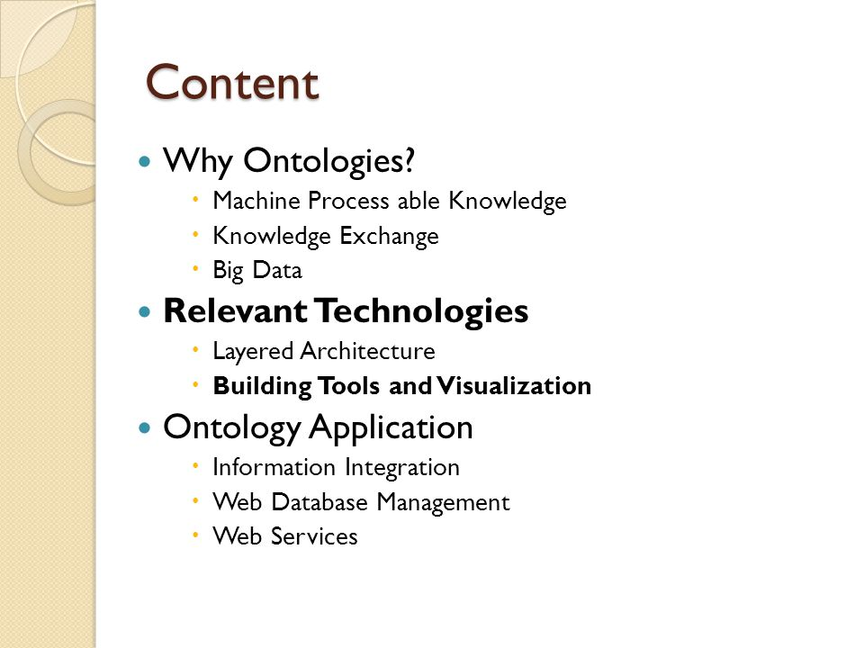 Content Why Ontologies.